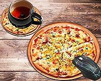 ラウンドマウスパッドとコースターセット 美味しいピザマウスパッド ノンスリップゴムベース ゲーム用マウスパッド 仕事やゲームに