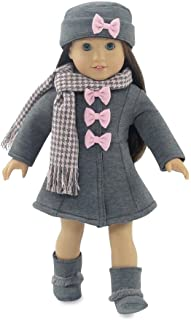 18 Inch Doll Clothes | Lovely Grey and Pink Coat Outfit, Includes Incredible Matching Hat and Boots and Perfect Hounds Too...
