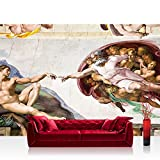 Vlies Fototapete 312x219cm PREMIUM PLUS Wand Foto Tapete Wand Bild Vliestapete - Gemälde Tapete Kunst Gemälde Erschaffung Adams Michelangelo beige - no. 2082