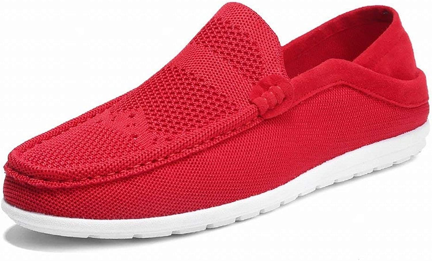 Fuxitoggo Men's Foot Peas shoes Trend Low To Help A Pedal Lazy shoes Men's shoes Breathe (color   Red, Size   42)