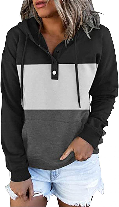 felwors Women's Lightweight Halloween Printed Hoodies Sweaters Loose Long Sleeve Button Drawstring Pullover Sweatshirts