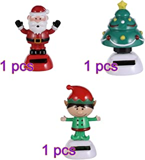 Amosfun 3pcs Christmas Solar Bobble Shaking Head Dancing Toy Santa elf Tree Figurines Statues Car Dash Board Decorations Christmas Party Favors Gifts Bags Filler