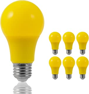JandCase LED Yellow Bulbs, 40W Equivalent, A19 Bug Light Bulbs with Medium Base, 6 Pack