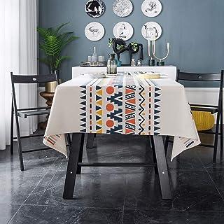 مفرش طاولة مربع قطن كتان 55 × 55 بوصة بوهو ستايل خالي من التجاعيد ضد التلاشي مفرش طاولة ثقيل الوزن لغرفة الطعام المطبخ