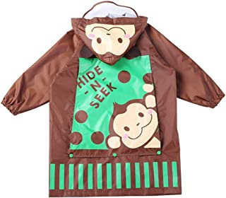 Raincoat Children's raincoat, boy, Girl Breathable Baby Poncho with Bag raincoat (Color : Coffee, Size : S)