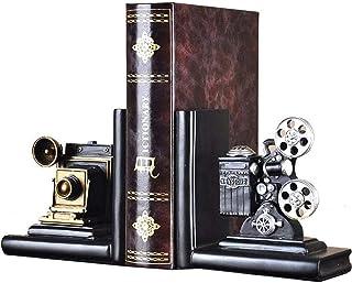 AOOA Shelf Book Ends Cámara Proyector de películas Sujetalibros Heavy Vintage Almacenamiento Hipster Oficina Estudio Cds DVDs Viajes Exploración Decoración Organizador