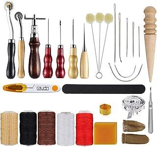 Kit de Gravure sur Cuir Art Tools Leather Craft Package Ensemble De 18 Pièces en Cuir Fait à La Main en Cuir Cousu à La Ma...