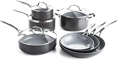 Cookware Set. Best 11 Piece Pots and Pans Non Stick, Ceramic Induction Cooking Frying Kit With Glass Lid. Oven Safe. Frypan, Saucepan, Casserole, Skillet. Black