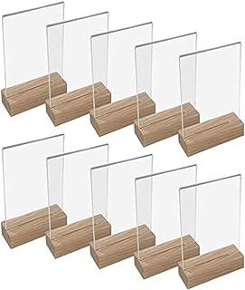 Lot de 10 porte-menus en acrylique avec base en bois – Support de table – Transparent méthacrylate – Vertical