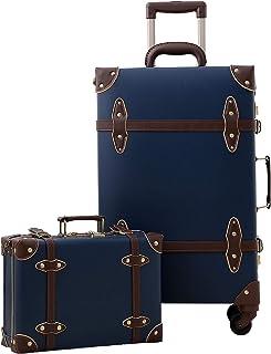 urecity Designer Vintage Trunk Combination Luggage Sets of 2 Piece, Hard Shell Retro Travel Suitcase with Wheels (Navy Blu...