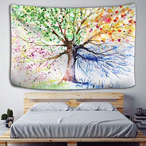 Moderno tapiz nórdico simple árbol de la vida tapiz paisaje papel tapiz arte de la pared chal decoración del hogar-150x130cm