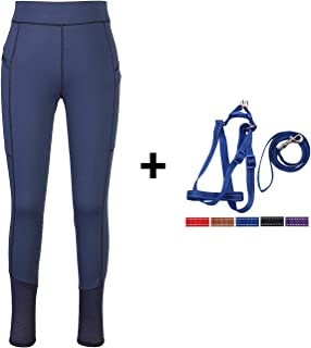 HR Farm Lady Light Weight Silicone Grip Leggings Horse Riding Tights 1 Dog Leash Set