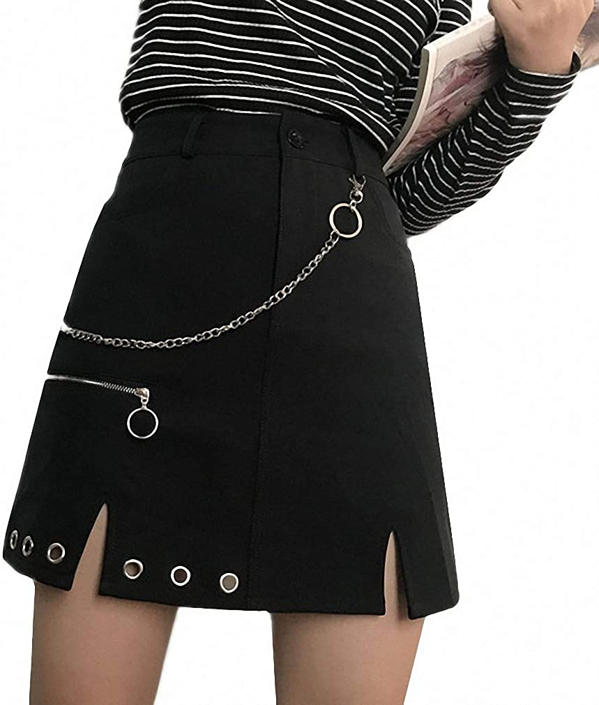 Dawery Gothic Rock Punk Chain Metal Ring Skirt Women Casual Streetwear Winter Autumn A-Line Tulle Skirts