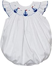 Betti Terrell Sailboats Smocked White Pique Angel Wing Bishop Bubble