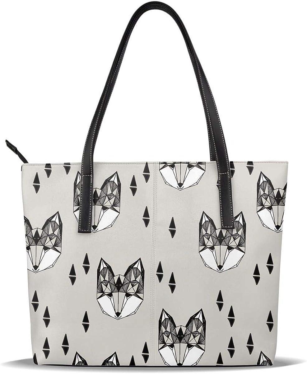 Grey Black Fox Head PU Portland San Antonio Mall Mall Leather S Printed Handbags Pattern Casual
