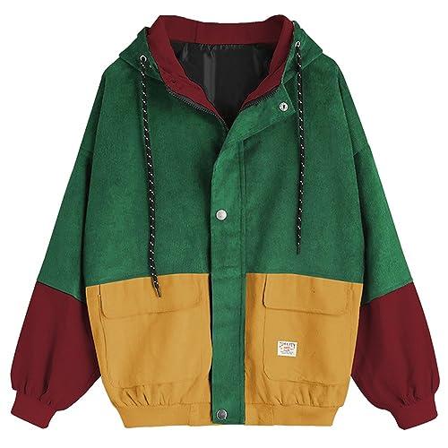 2da76a2a1 ZAFUL Women's Raglan Sleeve Drop Shoulder Color Block Corduroy Hooded Jacket