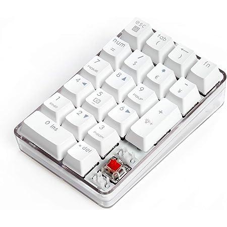 テンキーパッド赤軸メカニカルポータブルUSB着脱式 5000万回高耐久 白いバックライトモード付き iMac MacBooks PC Laptops 対応 (白)