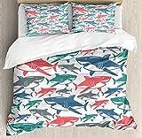 Juegos de cama de edredón de tiburón, mezcla de coloridos patrones de la familia del tiburón toro Maestros depredadores de supervivencia Naturaleza peligrosa, juego de funda nórdica de 3 piezas para n