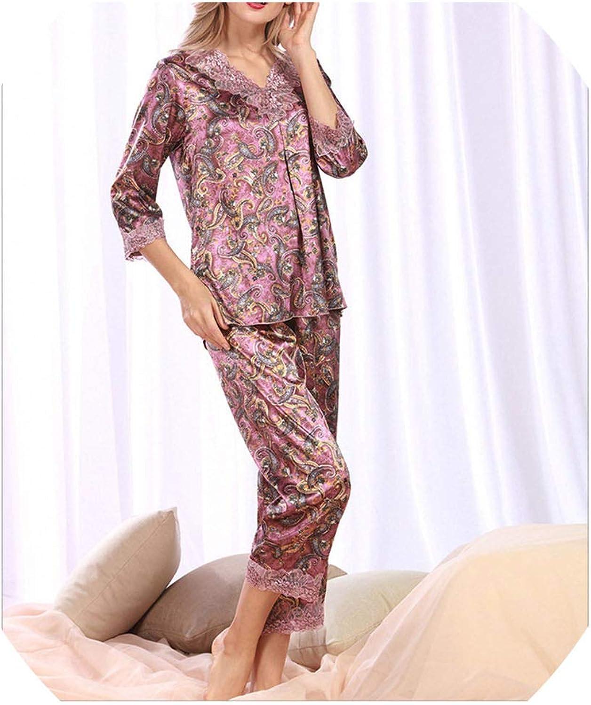 BrittanyBreanna Nightwear Women's Silk Pajama Sets Spring Summer Female Lace Embroidered Satin Pyjamas Sleepwear