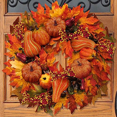 BESTTOYHOME Fall Door Wreath 24 inch - Large Autumn Door Wreath Harvest Wreath Autumn Silk Maple Leaves Wreath Garland Attached Pumpkins, Acorns, Berries for Outdoor Display