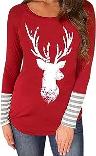 Kstare Women Christmas Reindeer Cowl Neck Long Sleeve Snowflake Elk Print Wool Sweater Xmas Knitting Sweatshirts