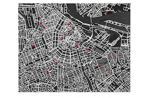 Pin City - Amsterdam - zwart: de coole vlieskaarten voor reis-belevenissen