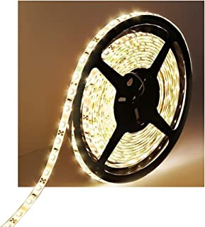 Water-Resistance IP65, 12V Waterproof Flexible LED Strip Light, 16.4ft/5m Cuttable LED Light Strips, 300 Units 3528 LEDs Lighting String, LED Tape(Warm White), Power Adapter not Included