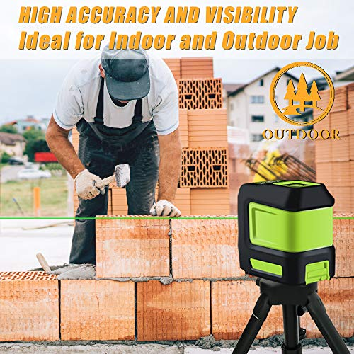 Line Laser Level Tool – 100ft Green Self Leveling Laser Line Level with Horizontal and Vertical Line Laser leveler for Indoor Outdoor Picture Hanging Construction Wall Writing Tile Installation