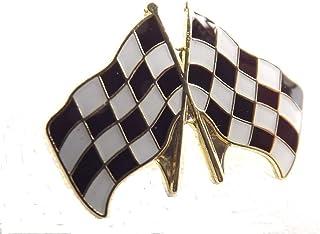 Insignia de metal esmaltado con la bandera de cuadros de las carreras
