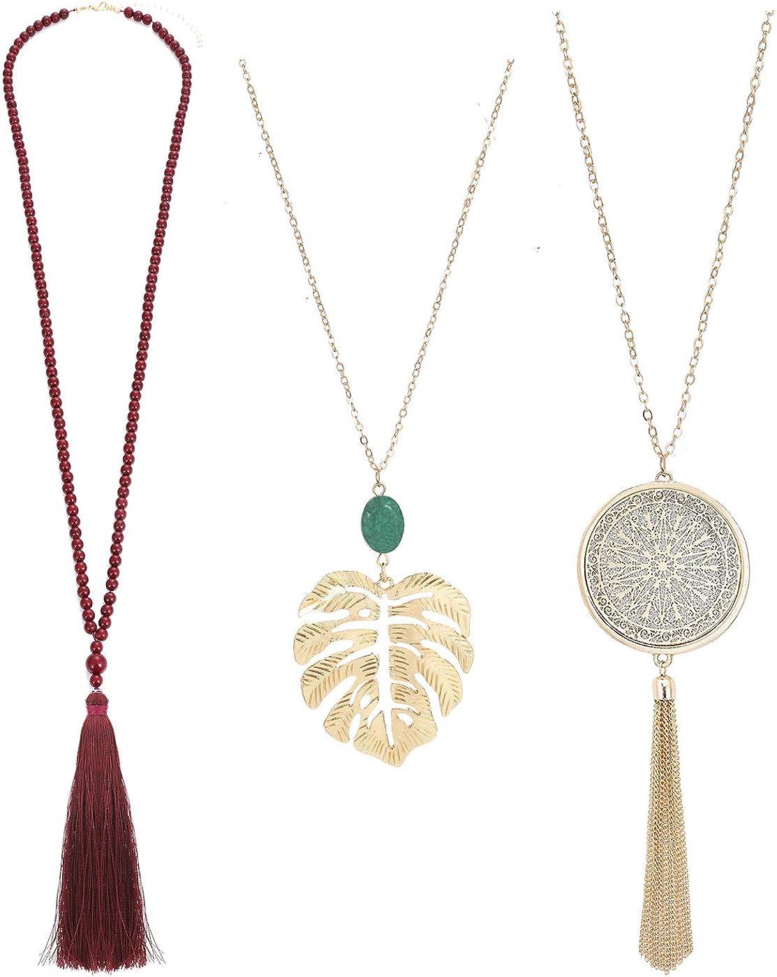 HSWE Long Pendant Necklace for Women Beaded Leaf Necklace Tassel Pendant Necklace Set Sweater Lariat Necklace (3 PCS)