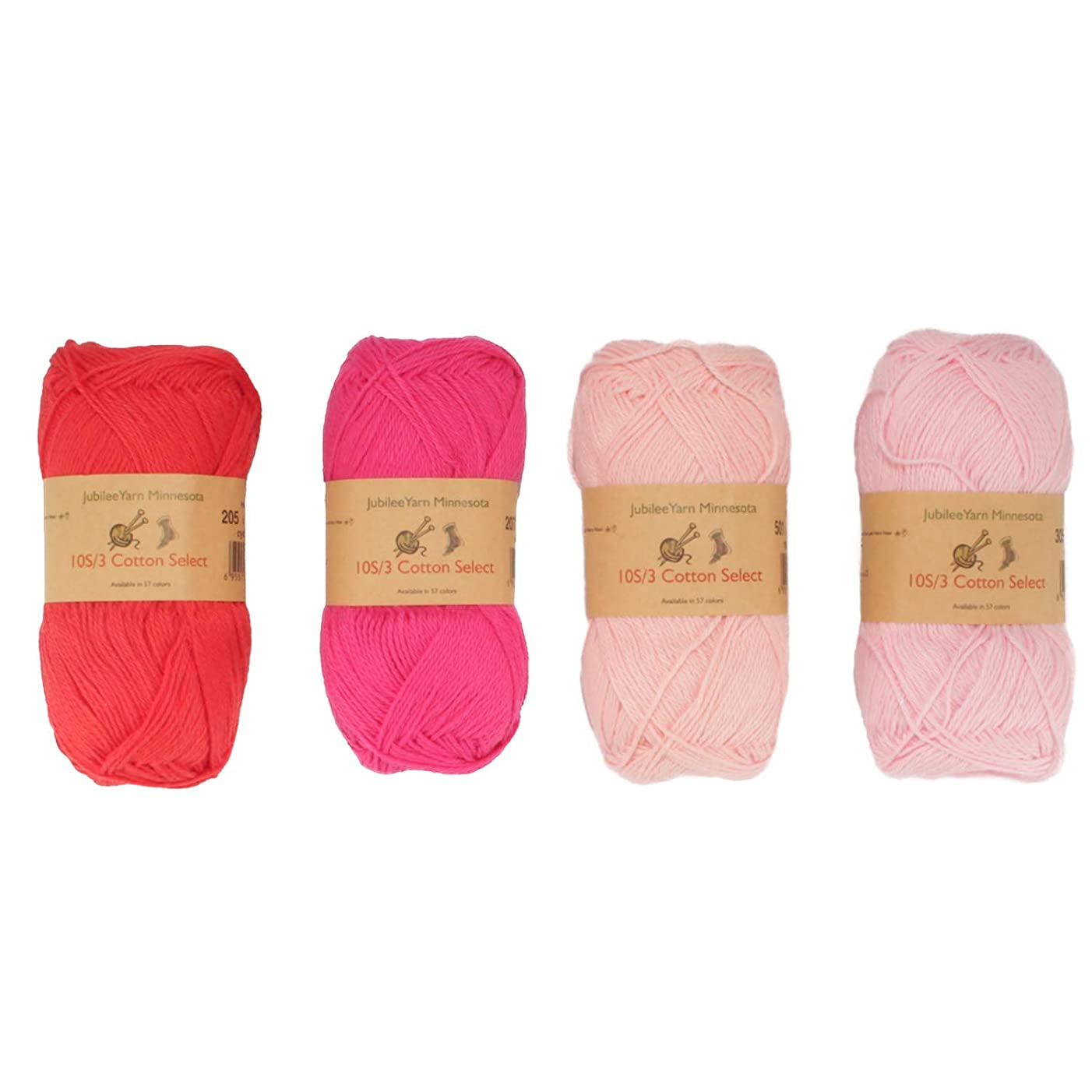 Cotton Select Sport Weight Yarn Color Palette Pack - 100% Fine Cotton - Shades of Pink - 4 Skeins