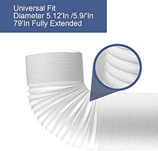 Air Conditioner Portable Exhaust Hose -5.12 Inch 5.9 Inch Diameter - 79 Inch Long - Universal Flexible Coun Clockwise Threads AC Tube AC Vent Hose Replacement - Air Conditioner Tube Accessories Parts