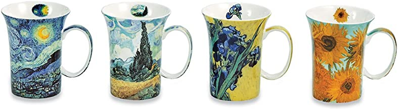Signals Bone China Van Gogh Mugs - Set of 4 Bone China Mugs with Famous Van Gogh Paintings, 10 oz.