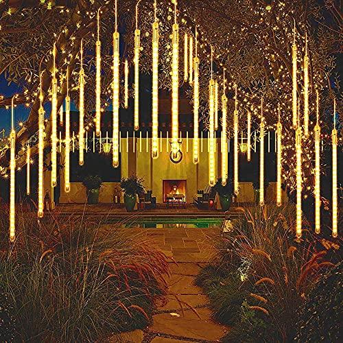 LED Meteorschauer Regen Lichter 30cm 8Tube 192LEDs Wasserdichte Lichterkette für Party Garten Hochzeit Weihnachten (Warmweiß)