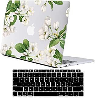 Lapac MacBook Pro 13 Case Flower, 2019 2018 2017 2016 Release A2159 A1989 A1706 A1708, White Apple Flower Hard Shell Clear Case with Keyboard Cover