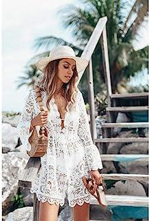 New Summer Women Bikini Cover Up Floral Lace Hollow Crochet Swimsuit Cover-Ups Bathing Suit Beachwear Tunic Beach Dress Hot