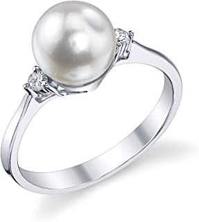 White Akoya Cultured Pearl Ring for Women with Diamonds and 14K Gold - THE PEARL SOURCE