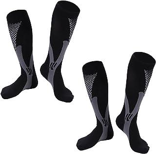2 Pair Black/Gray/White Sm/Med TASOM Graduated Compression Socks Below Knee Calf High Best Women & Men training Race Recovery Sock Great For Running Medical Nursing Maternity Pregnancy Travel & Flight