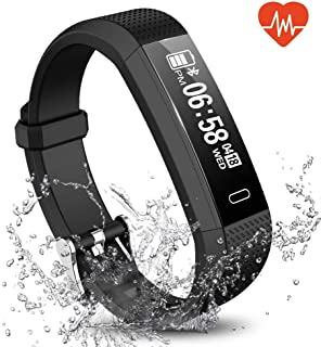 Fitness Tracker, Waterproof Activity Tracker Smart Sports Band with Heart Rate HR Sleep Monitor, SMS SNS Call Reminder, Calorie Step Counter Pedometer for Kids Men Women iPhone Android