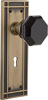 Nostalgic Warehouse 725675 Mission Plate with Keyhole Privacy Waldorf Black Door Knob in Antique Brass, 2.375
