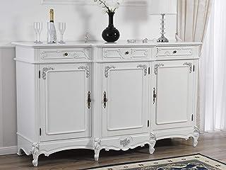 Simone Guarracino Aparador Arabella Estilo Barroco Moderno Buffet Color Blanco Lacado y Hoja Plata 3 Puertas y 3 cajones