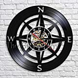 fdgdfgd Negro Retro CD Reloj Brújula Pared Art Deco Reloj Vinilo Reloj de Pared Decoración 3D Diseño Moderno | Reloj de Pared Luminoso de 7 Colores