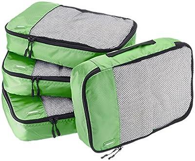 Amazon Basics 4 Piece Packing Travel Organizer Cubes Set - Medium, Green by Amazon Basics