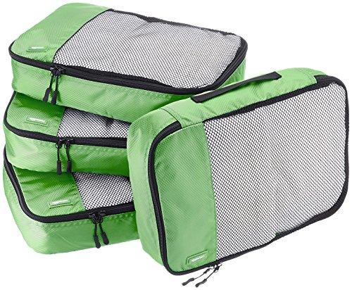 AmazonBasics - Bolsas de equipaje medianas (4 unidades), Verde