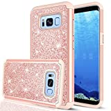 LeYi Compatible with Samsung Galaxy S8 Case with 3D PET Screen Protector [2 Pack] for Girls Women, Glitter Bling Dual Layer Hybrid Heavy Duty Phone Case for Samsung Galaxy S8 TP Rose Gold