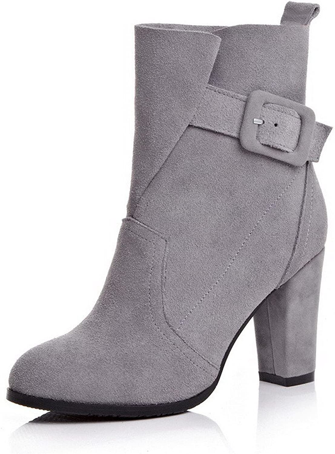 WeenFashion Women's Cow Imitated Suede High-Heels Round-Toe Boot with Slipping Sole and Chunky Heels