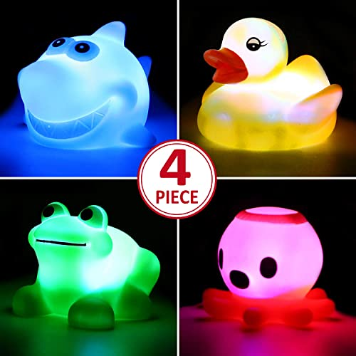 Juguete de Ducha, que Ppuede Parpadear Luces Coloridas(4 paquetes),Ilumina las Duchas de Bebé Juguete de Baño para el...