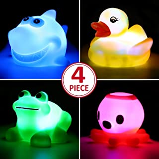 Yeonha Toys Bath Toy,Can Flashing Colourful Light(4 Pack), Floating Bath Toy, Light Up Baby Shower Bathtime Bathtub Toy for Bathroom Kid Boys Girl Toddler Child,Rubber Ducks Octopus Frog Shark