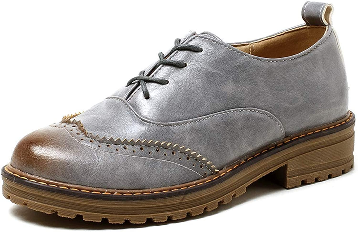 KEREE Women's Classic Saddle Oxford shoes Wingtip Lace Up British Casual Flat Low Heel Oxfords Brogues Black