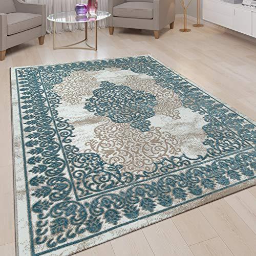 Alfombra Salón Pelo Corto Efecto 3D Diseño Oriental Ornamentos Azul Claro, tamaño:80x150 cm